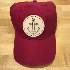 """Anchor"" Leather Patch Canvas Baseball Hat - Chili Pepper"