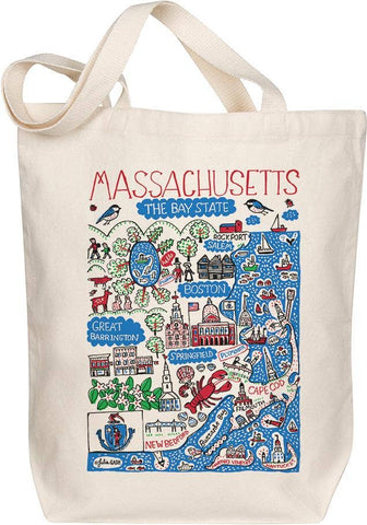 Massachusetts Map Art Tote