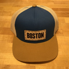 Boston Leather Patch Trucker Hat - Ocean Blue/Beige/Amber Gold
