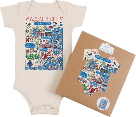 Massachusetts Themed Organic Cotton Baby Onesies & T-Shirts