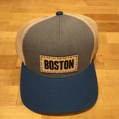 Boston Leather Patch Trucker Hat - Heather Grey/Beige/Ocean Blue