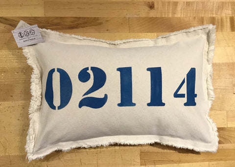 02114 Zip Code Lumbar Pillow by Rustic Marlin