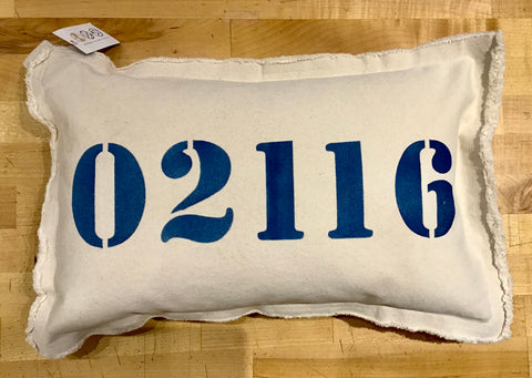 02116 Zip Code Lumbar Pillow by Rustic Marlin