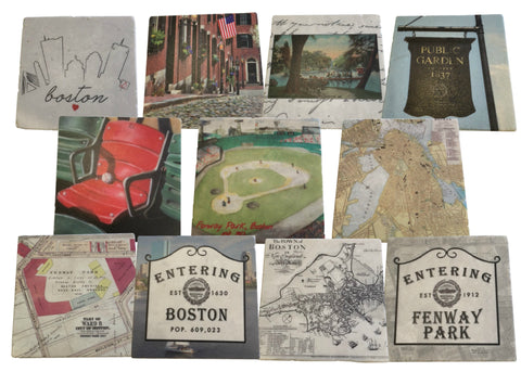 Assorted Boston Themed Marble Coasters Set by Screencraft Tileworks