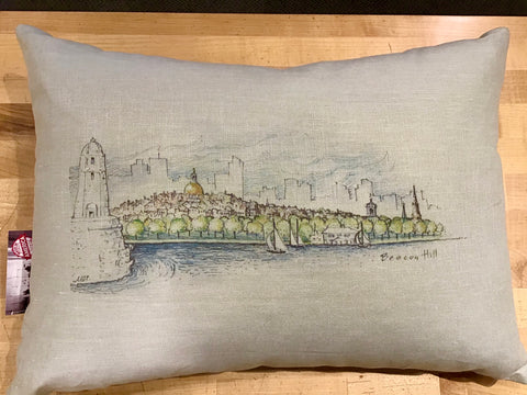 Boston Skyline Colored Sketch Pillow in Sea Foam Green ~ Blackstone's Exclusive by Ox Bow Decor