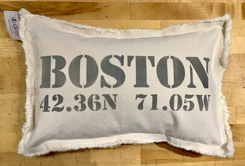 Boston Longitude and Latitude Lumbar Pillow by Rustic Marlin