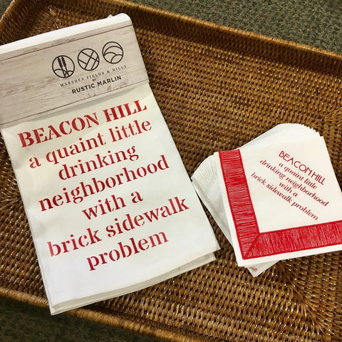 Exclusive Beacon Hill themed Cocktail Napkins by Caspari