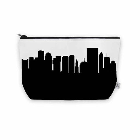 Boston MA Skyline Cosmetic Makeup Bag - Vegan Leather