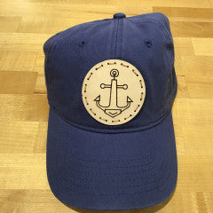"""Anchor"" Leather Patch Canvas Baseball Hat - Navy"