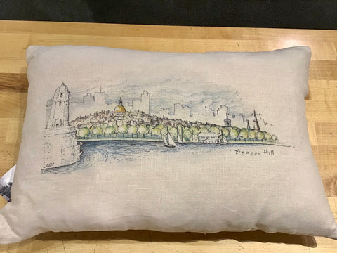 Boston Skyline Sketch Pillow in Linen Light Oyster Color ~ Blackstone's Exclusive by Ox Bow Decor
