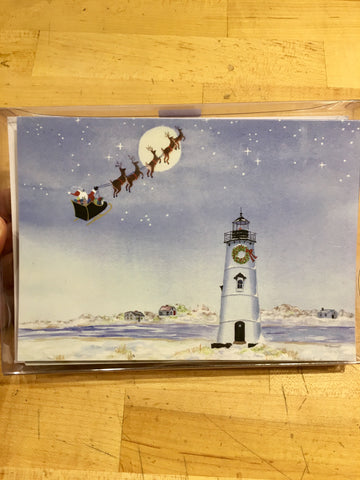 Boxed Christmas Cards Set 12 ~ Santa over Lighthouse Edgartown