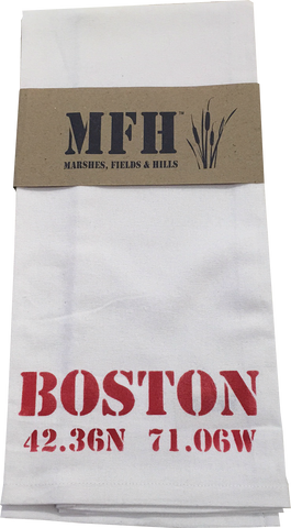 Exclusive Tea Towel Boston with Longitude & Latitude by Marshes Fields and Hills