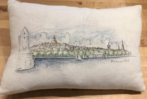 Boston Skyline Sketch Pillow in Linen Antique White Color ~ Blackstone's Exclusive by Ox Bow Decor