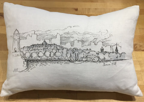Boston Skyline Sketch Pillow in Linen Antique White B&W ~ Blackstone's Exclusive by Ox Bow Decor