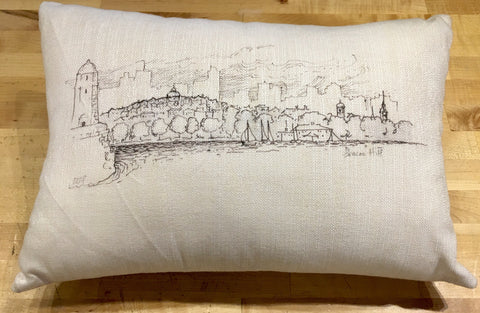 Boston Skyline Sketch Pillow in Classic White Sunbrella B&W ~ Blackstone's Exclusive by Ox Bow Decor