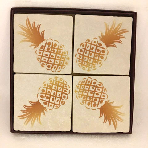 Exclusive Pineapple Marble Coaster Set by Screencraft Tileworks