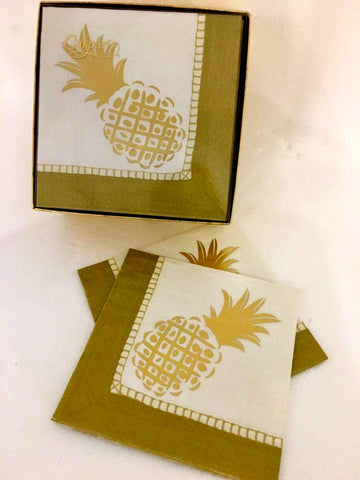 Exclusive Pineapple Cocktail Napkin Boxed Set by Caspari