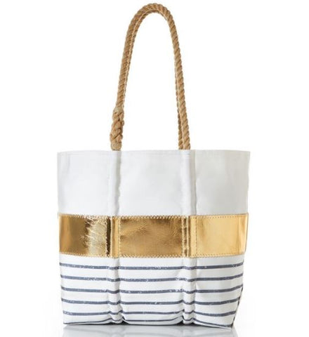 Sea Bags Grey Mariner Stripe Tote Medium