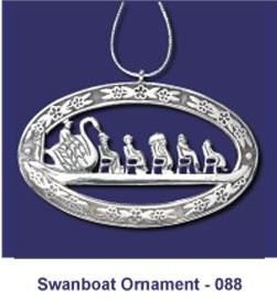 Boston Swanboat Ornament in White Bronze