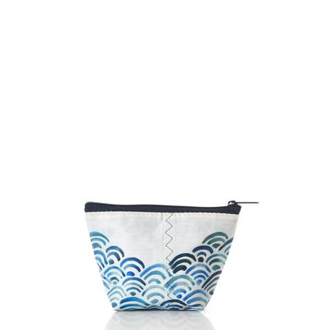 Sea Bags Small Cosmetic Bag - Watercolor Waves Print