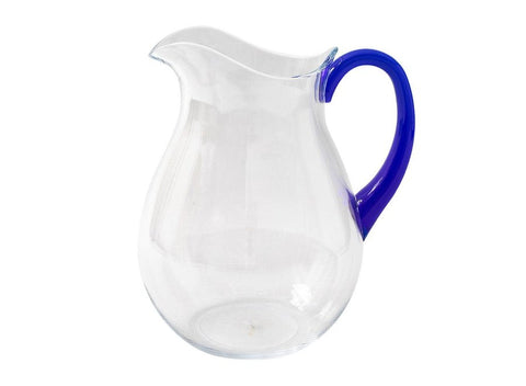 Caspari Acrylic Pitcher in Clear with Cobalt Handle - 1 Each