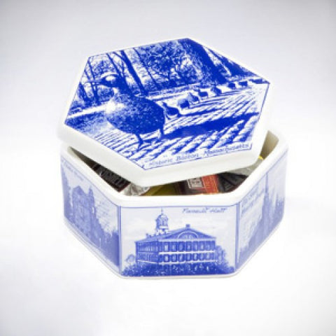 Delft Blue Hexagon Box with Boston Images by Ceramick