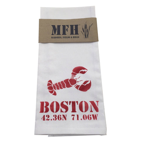 Exclusive Tea Towel Boston Lobster with Longitude & Latitude by Marshes Fields and Hills