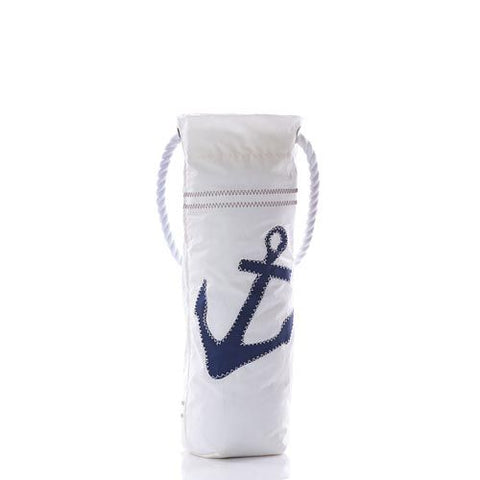 Navy Anchor on White Wine Tote by Sea Bags