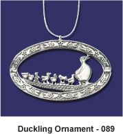 Boston Make Way for Ducklings Ornament in White Bronze