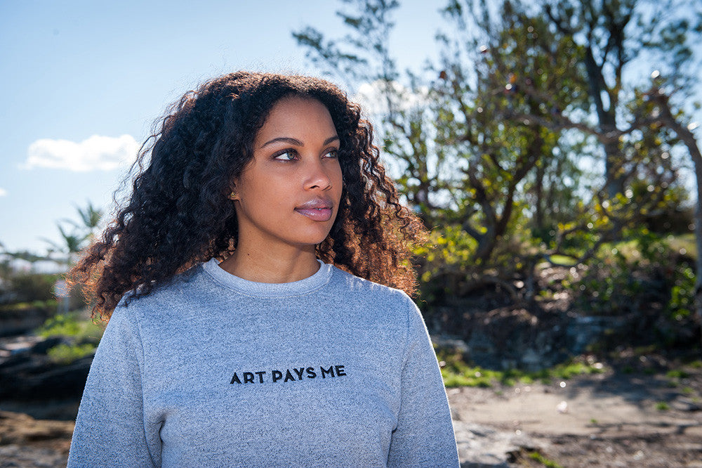 Art Pays Me Sweater, Marled White - Gaynete