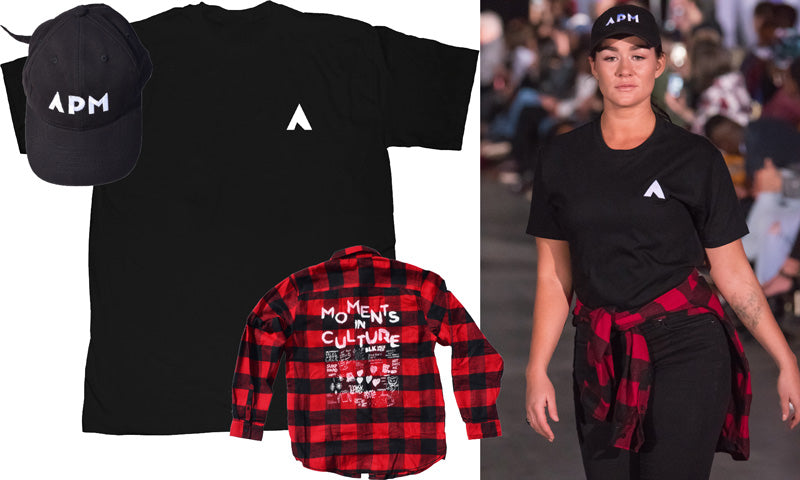 Embroidered A Tee, Moments Flannel and APM logo hat