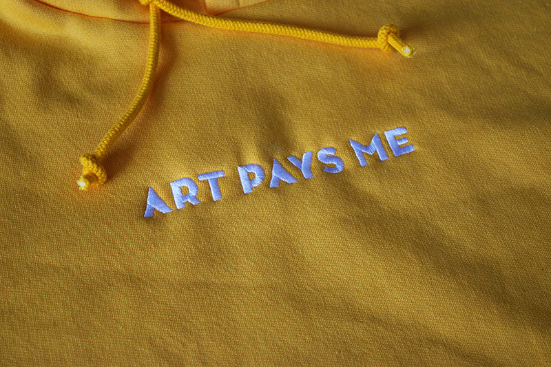 Embroidered logo hoodie yellow detail