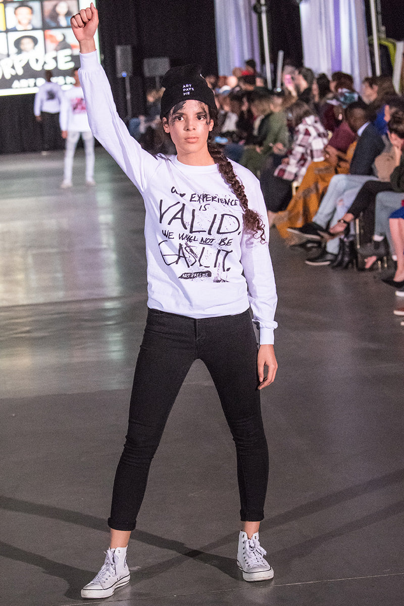 Our Experience Long Sleeve Tee worn by Alenne Adekayode during Atlantic Fashion Week