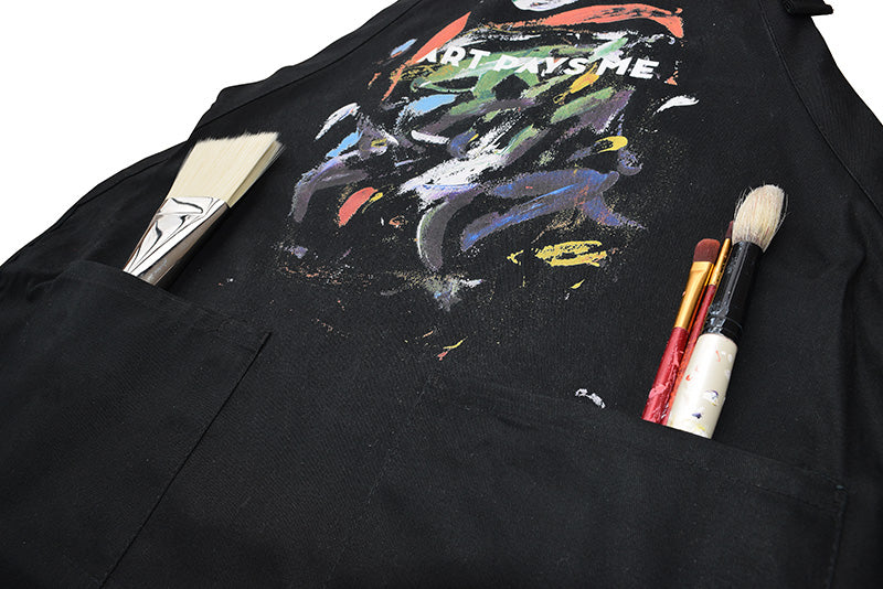 Art Pays Me Paint Smears Apron pockets detail