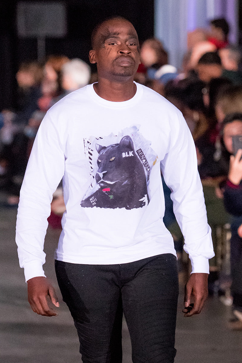 Unapologetic Long Sleeve Tee worn by Schneider during Atlantic Fashion Week