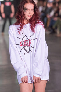 Woke Sleep Long Sleeve Tee worn by Liz Ernst during Atlantic Fashion Week