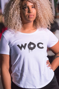 Woman Of Colour Scoop Bottom Ladies Tee, White worn by Affrika during Atlantic Fashion Week