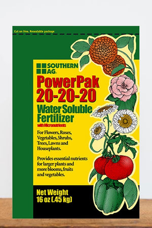 Southern Ag PowerPak Water Soluble Fertilizer 20-20-20, 1 LB Size: 1 LB