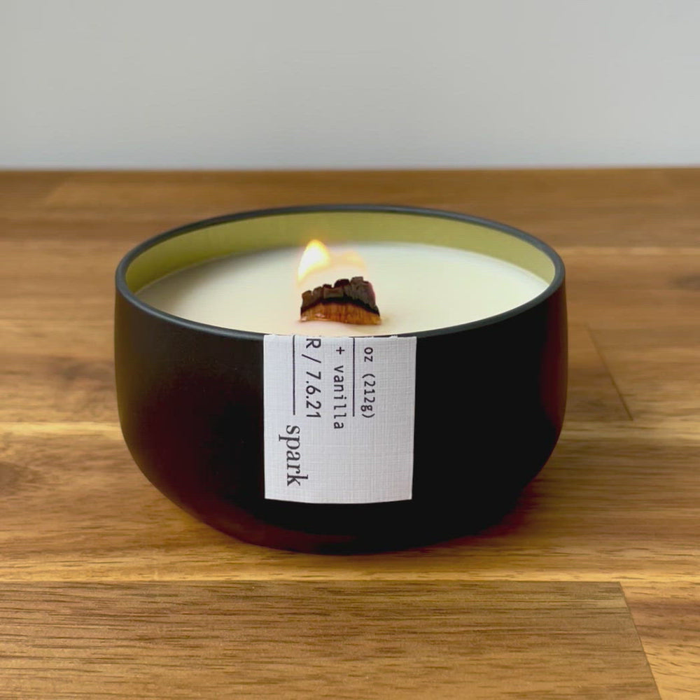 Load and play video in Gallery viewer, Custom 7.5oz Aromatherapy Soy Candle in Matte Black Tin - Add Your Message
