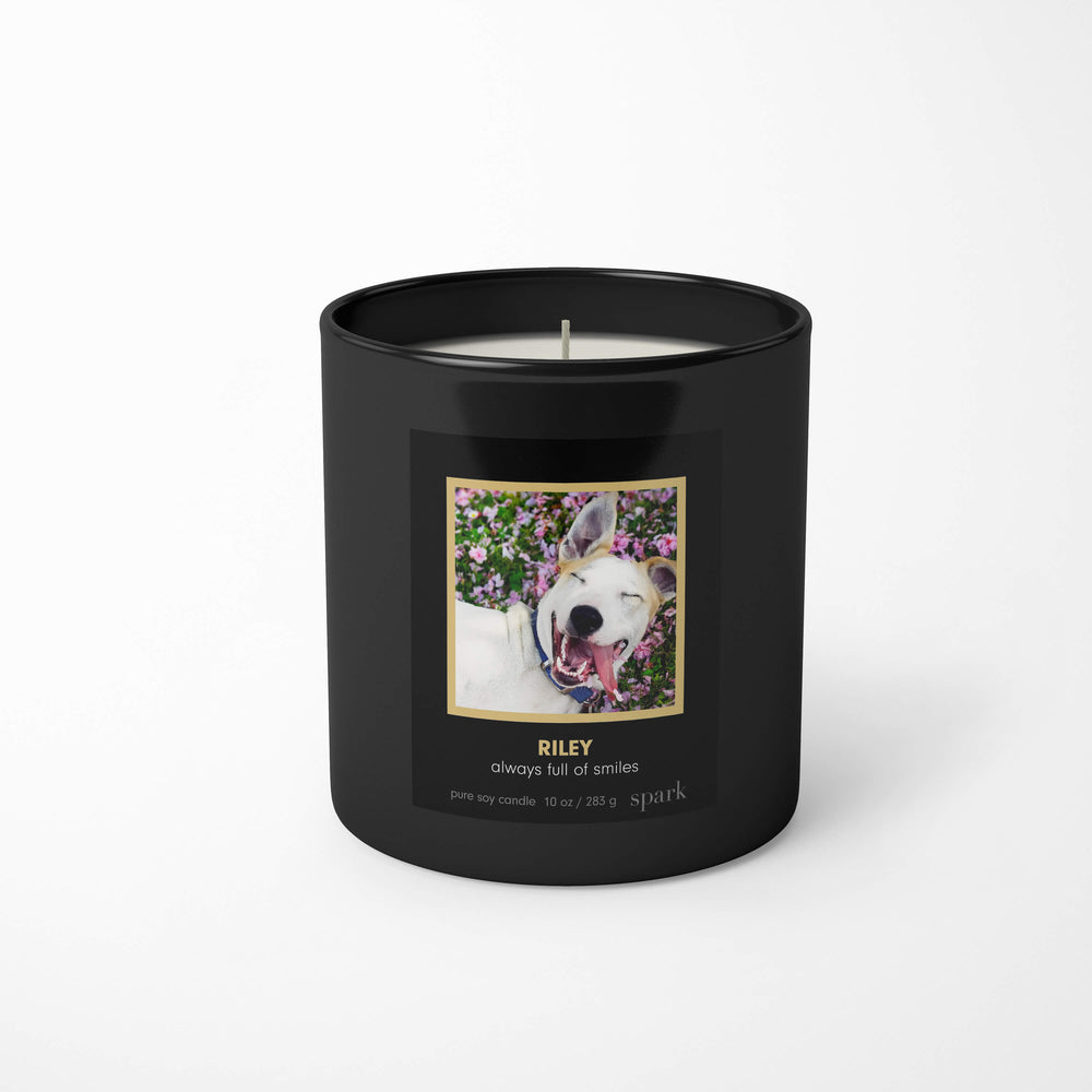Spark Candles Custom Pet Memorial Candle Upload Photo Add Custom Message to Candle Label