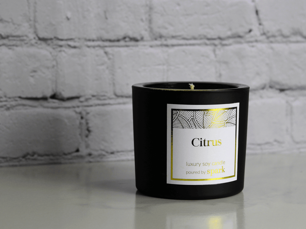 Custom Soy Candle Matte Glass Cylinder - Custom Gold Foil Label - Spark Candles