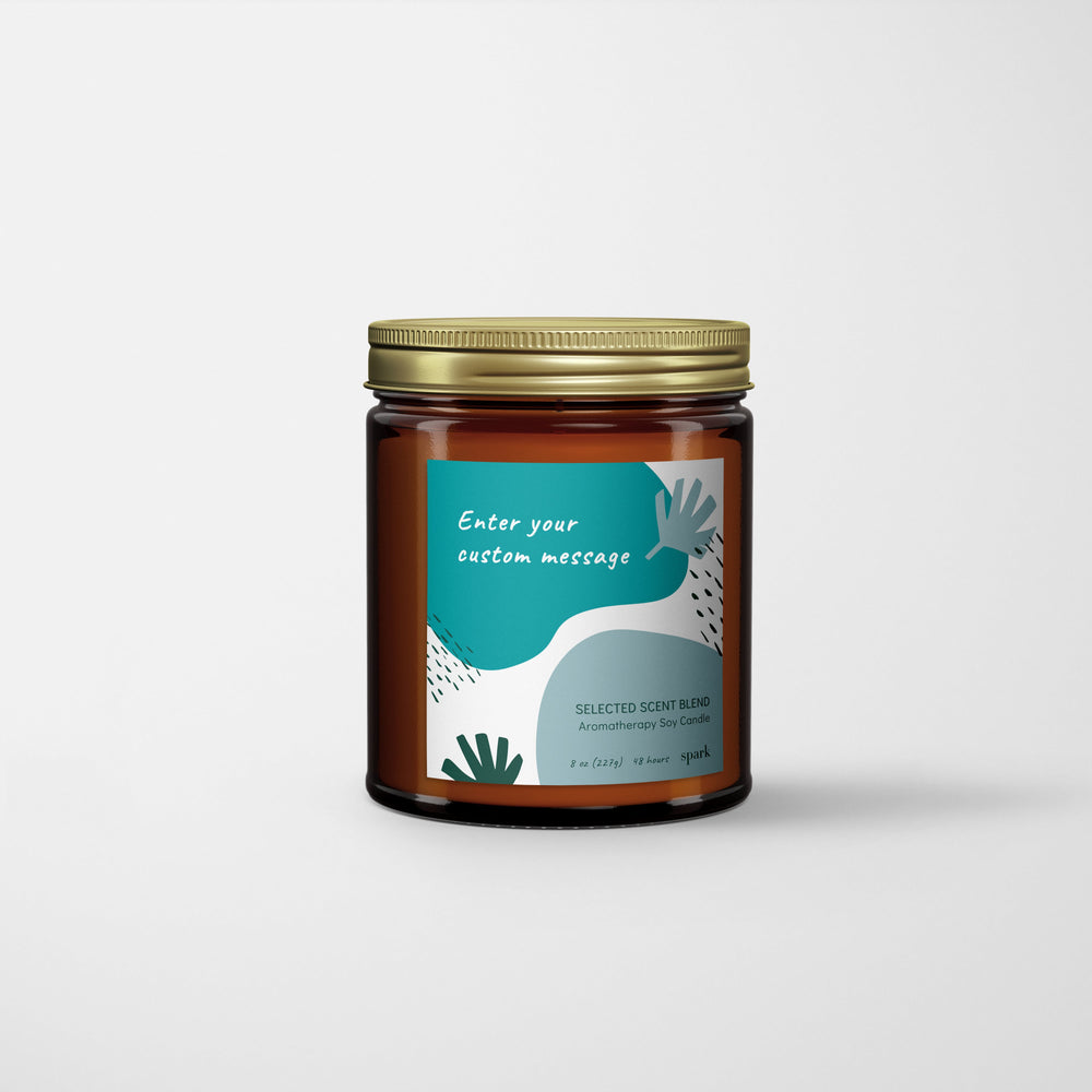 Custom 8oz Aromatherapy Soy Candle in Amber Glass Jar with Metal Lid - Label Design No. 63 - Spark Candles