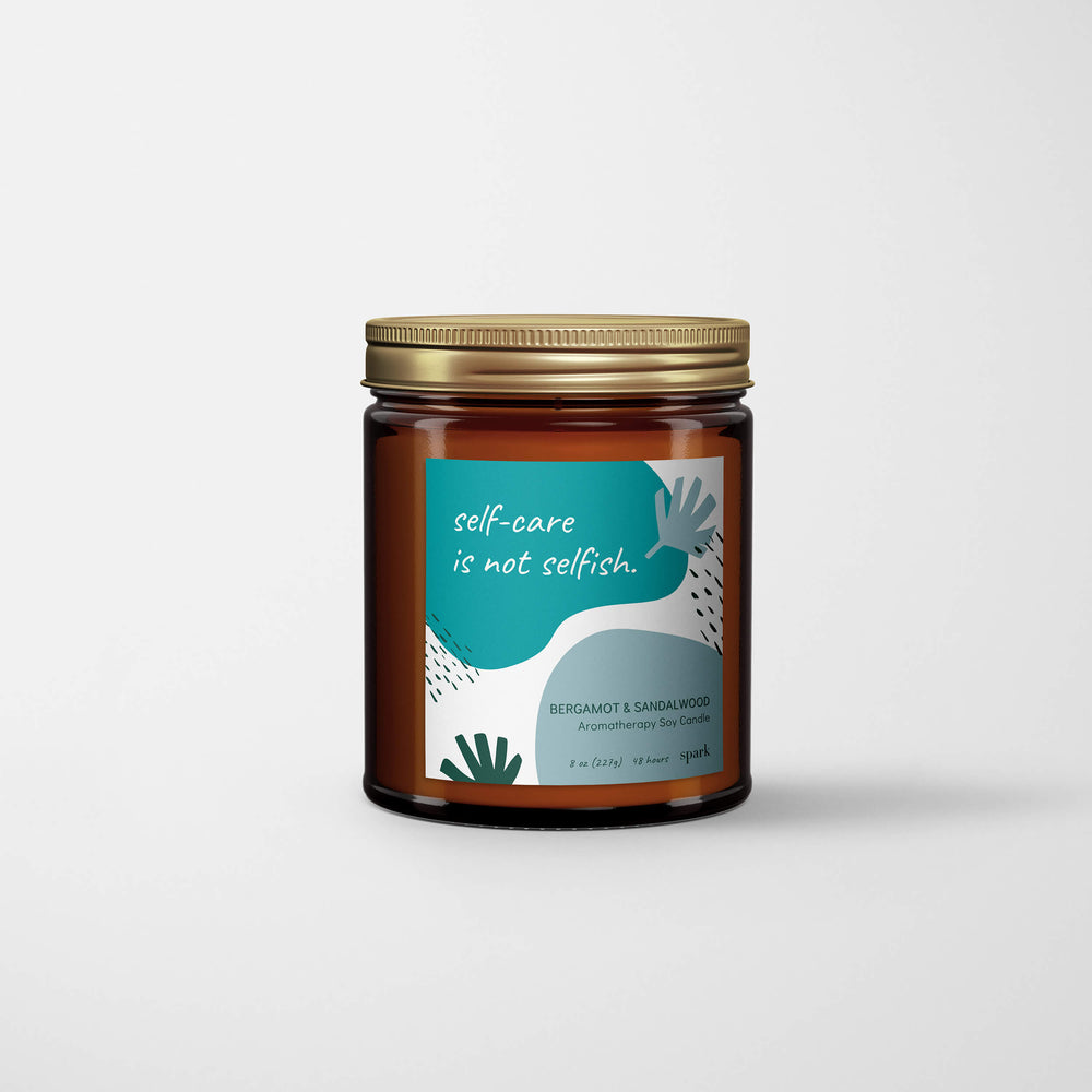 Custom 9oz Aromatherapy Soy Candle in Amber Glass Jar with Metal Lid - Abstract Label - Spark Candles