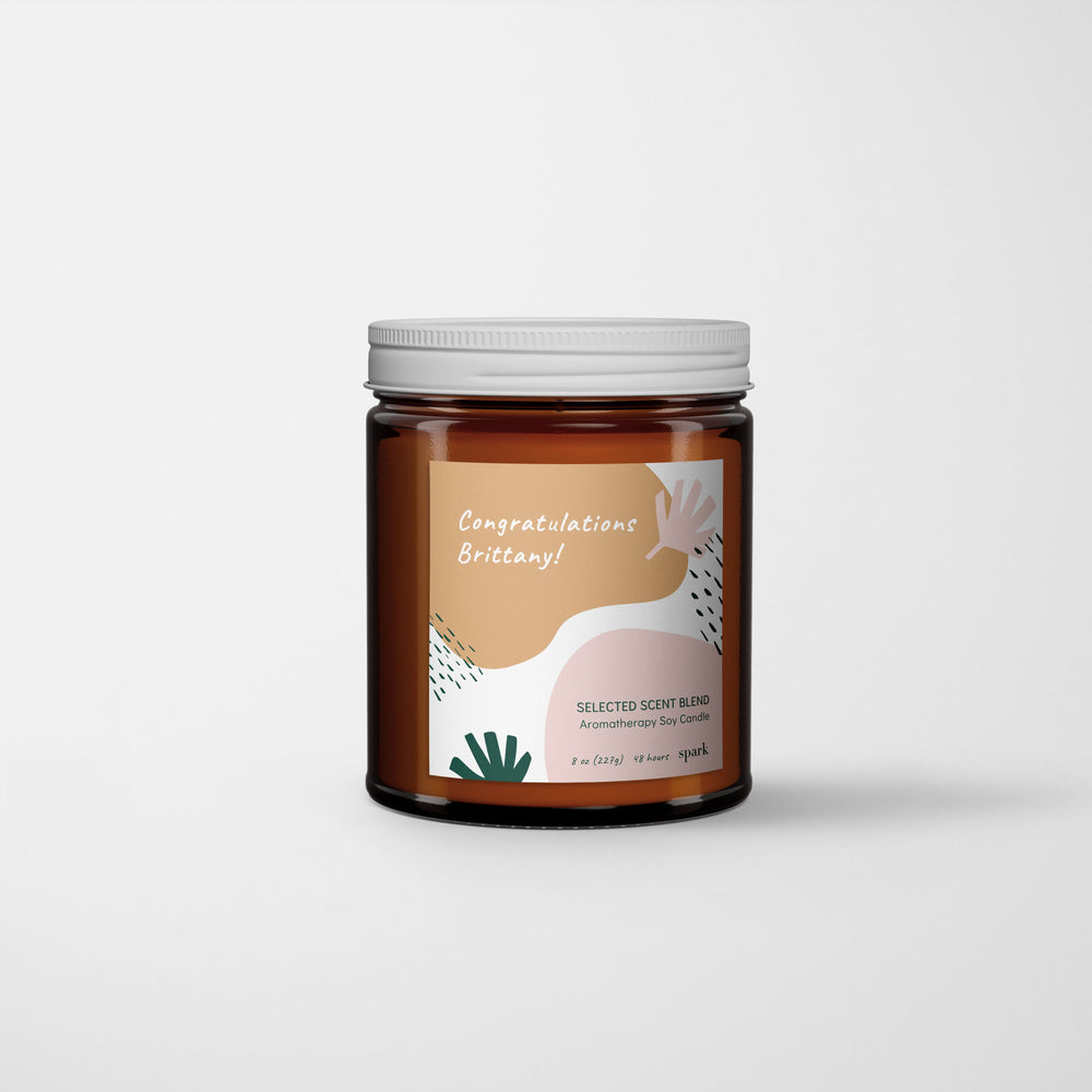Custom 8oz Aromatherapy Soy Candle in Amber Glass Jar with Metal Lid - Label Design No. 45 - Spark Candles