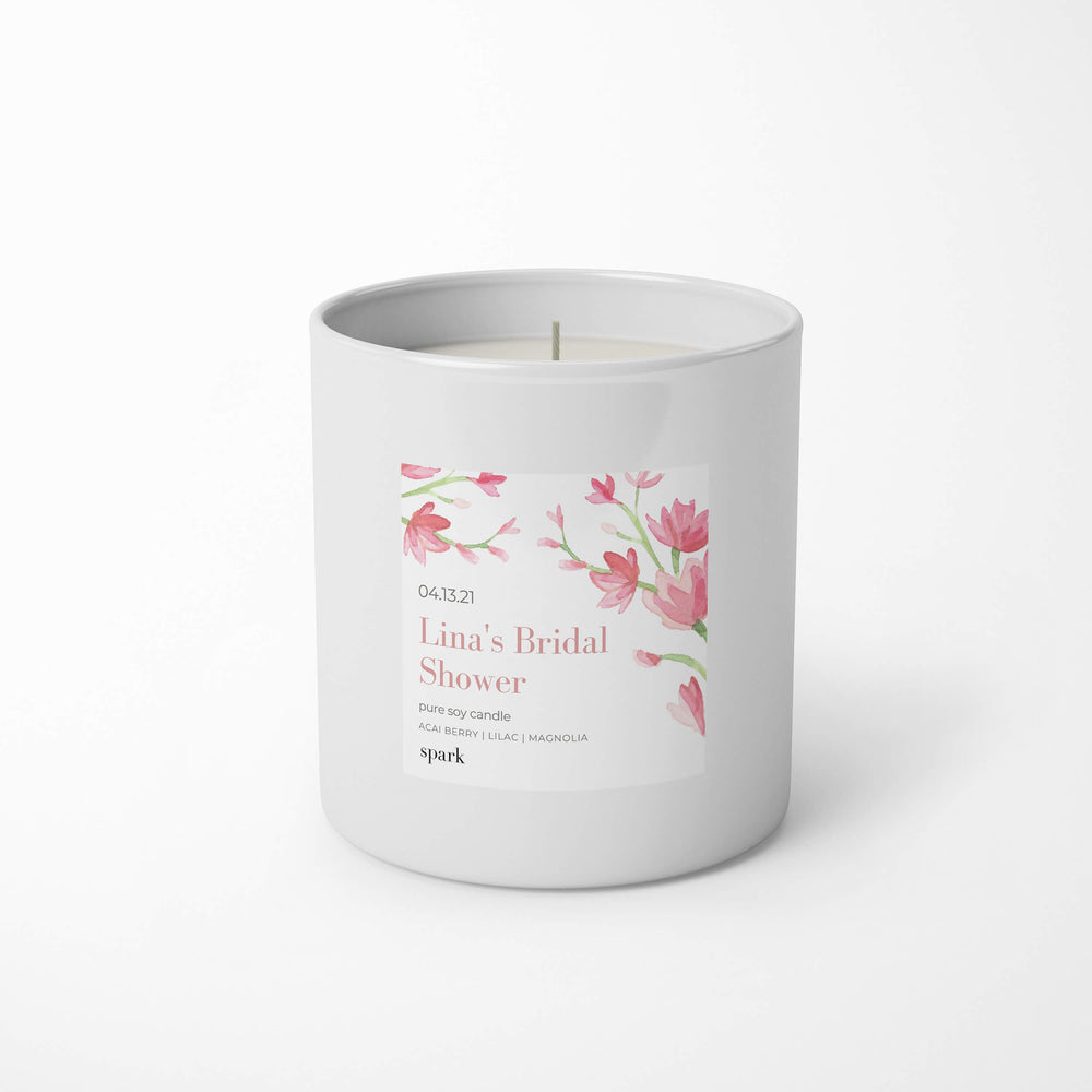 Custom 10oz Aromatherapy Soy Candle in Classic White Glass - Label Design No. 25 - Spark Candles