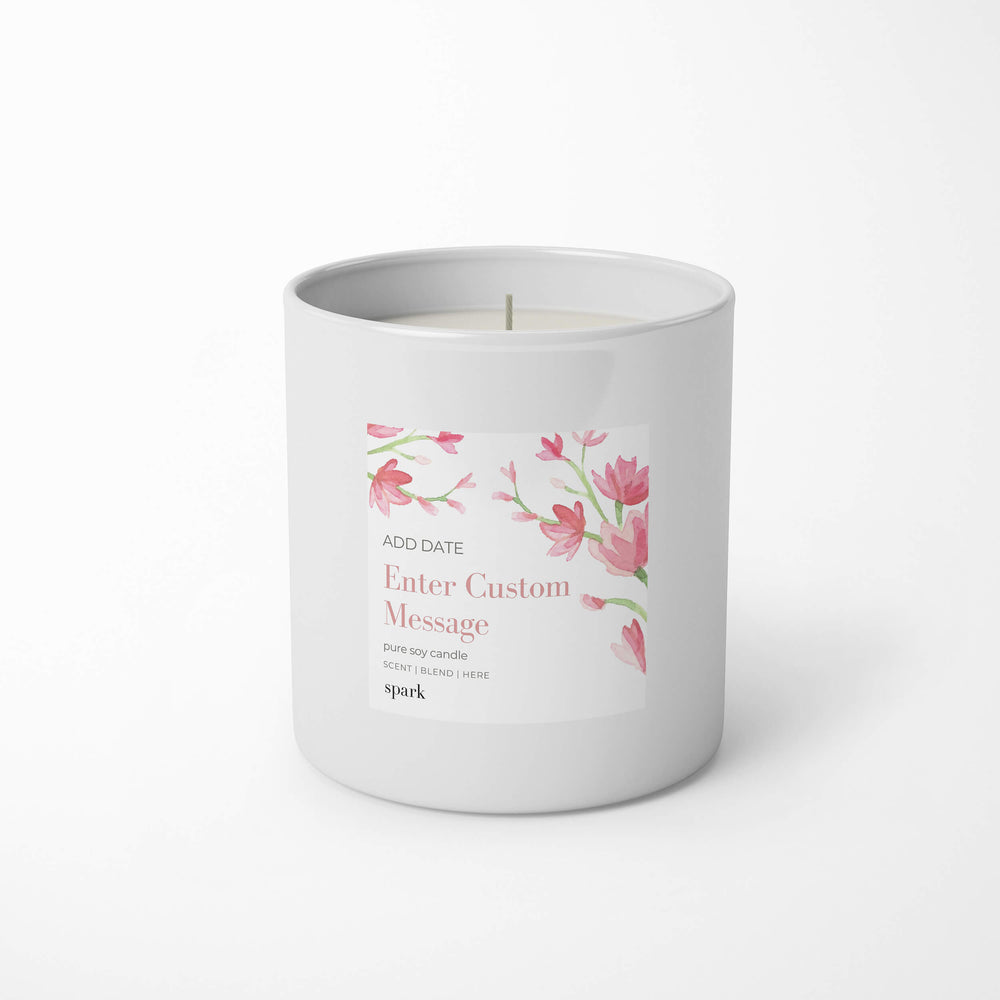 Load image into Gallery viewer, Custom 10oz Aromatherapy Soy Candle in Classic White Glass - Label Design No. 25 - Spark Candles