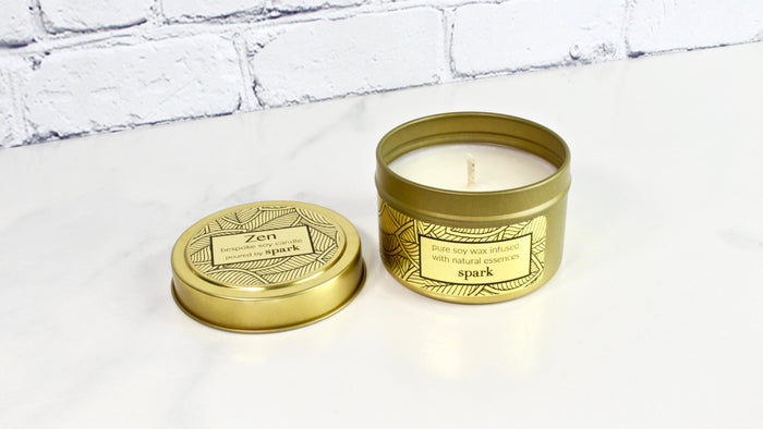 Custom Pure Soy Candles in Gold Tins with Essential Oils and Aromatherapy Blends