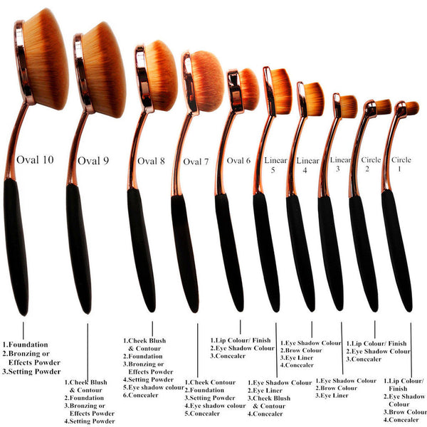 10 Piece Contour Make Up Brush Set