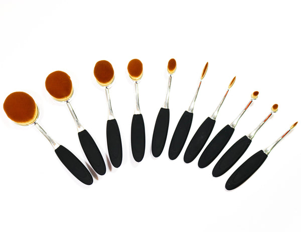10 Piece Contour Make Up Brush Set Silver & Black