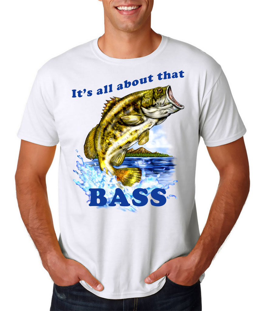 48daadf4 9 Crowns Tees Men's All about that Bass Funny Fishing T-Shirt